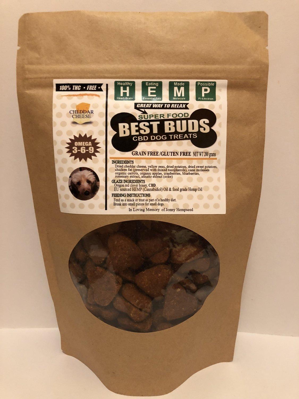 Best Buds CBD Chedder Pet Treats - heart-shaped - Gluten-Free/Grain-Free