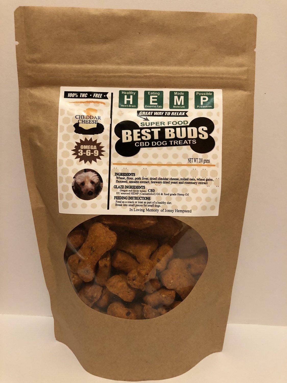 Best Buds CBD Chedder Pet Treats - traditional bone-shaped