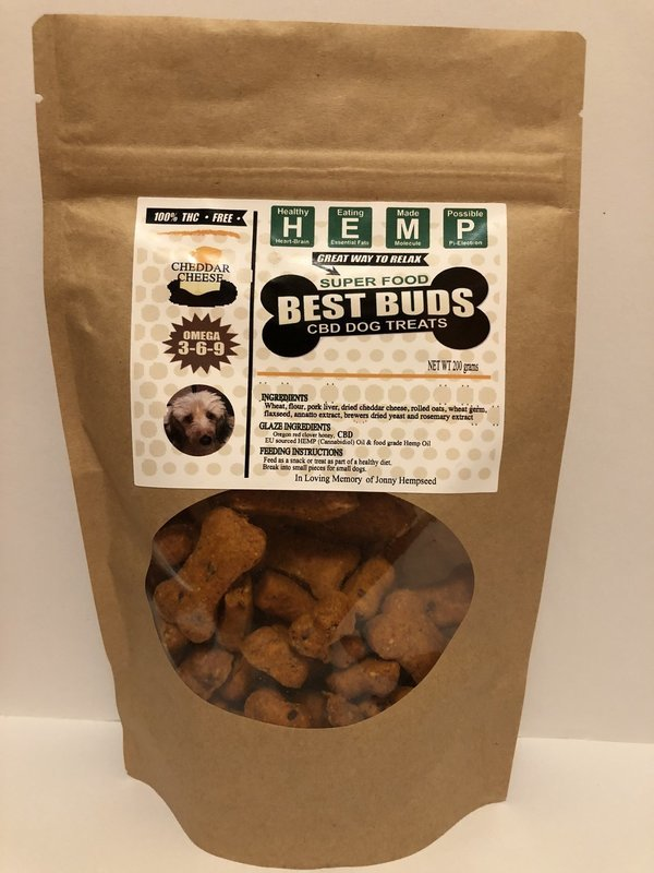 Best Buds CBD Chedder Pet Treats - traditional bone-shaped