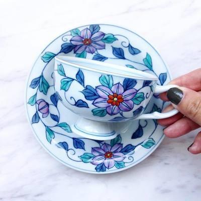 (hold) 日本手繪茶杯碟 - 華山