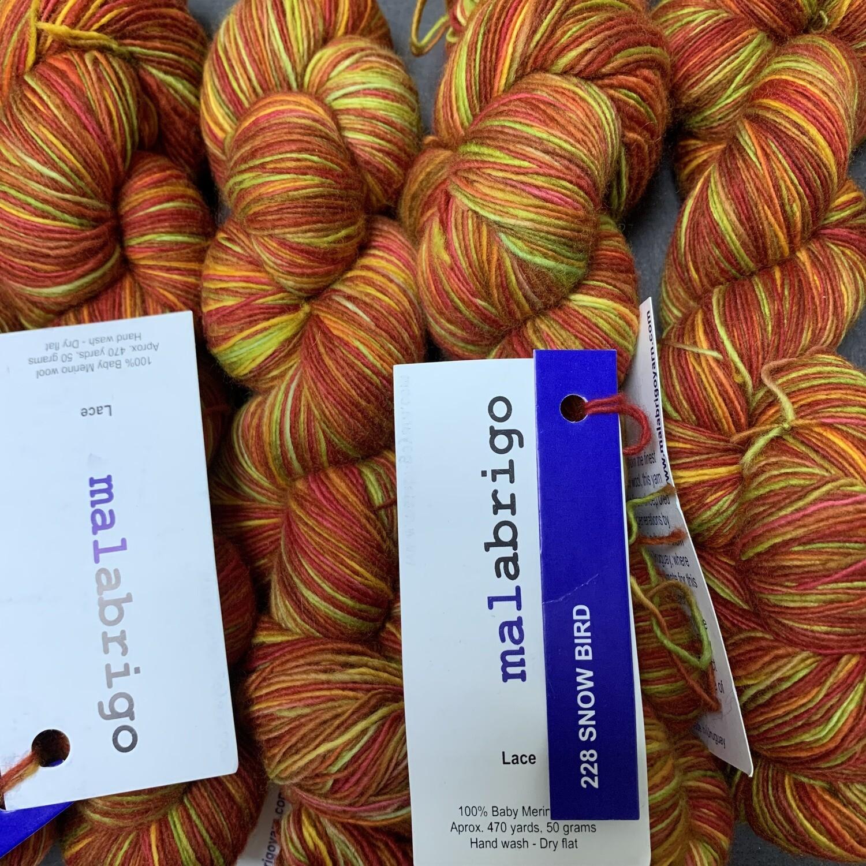 💜Malabrigo Hand dye Lace Yarn SNOW BIRD #228