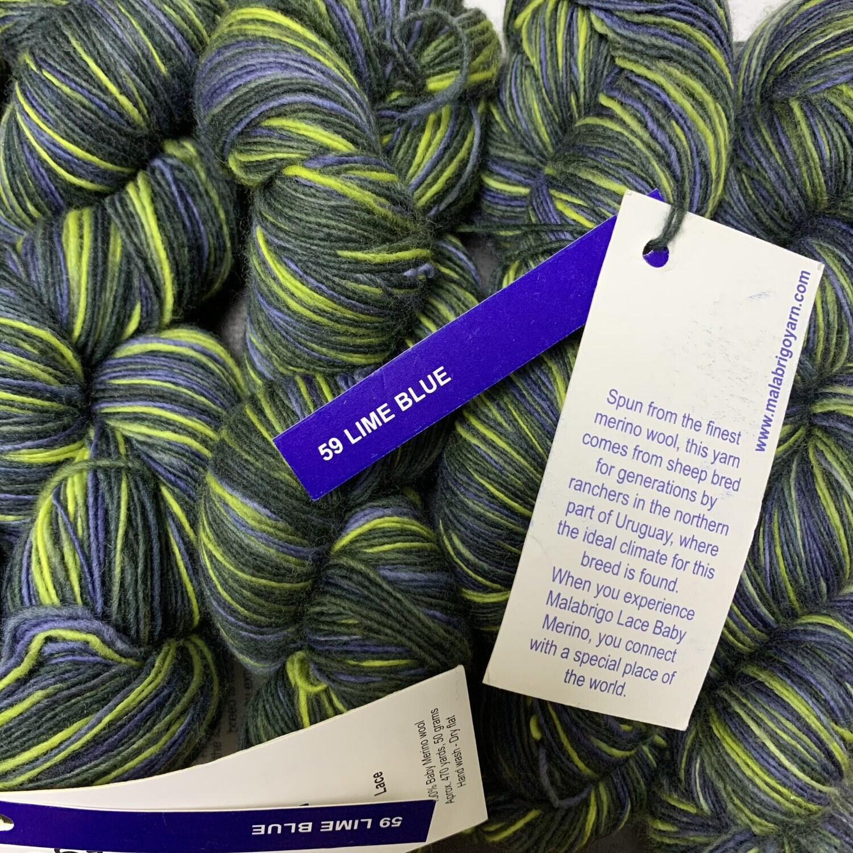 💜Malabrigo Hand dye Lace Yarn LIME BLUE #59