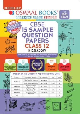 Buy e-book: Oswaal CBSE Sample Question Papers Class 12 Biology Book (Reduced Syllabus for 2021 Exam)