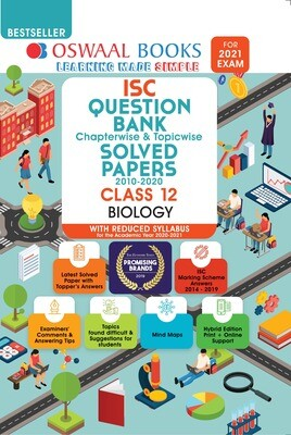 Buy e-book: Oswaal ISC Question Bank Chapterwise & Topicwise Solved Papers, Biology, Class 12 (Reduced Syllabus)