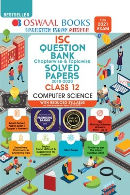 Buy e-book: Oswaal ISC Question Bank Chapterwise & Topicwise Solved Papers, Computer Science, Class 12 (Reduced