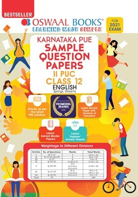 Buy e-book: Oswaal Karnataka PUE Sample Question Papers II PUC Class 12 English (For 2021 Exam): 9789390411351