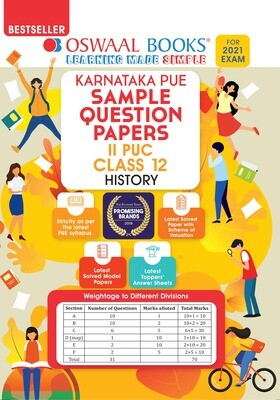 Buy e-book: Oswaal Karnataka PUE Sample Question Papers II PUC Class 12 History (For 2021 Exam)