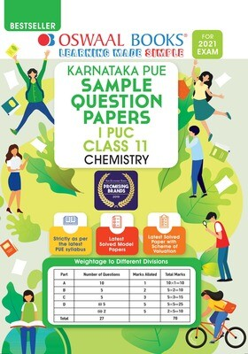 Buy e-book: Oswaal Karnataka PUE Sample Question Papers I PUC Class 11 Chemistry (For 2021 Exam): 9789390411245