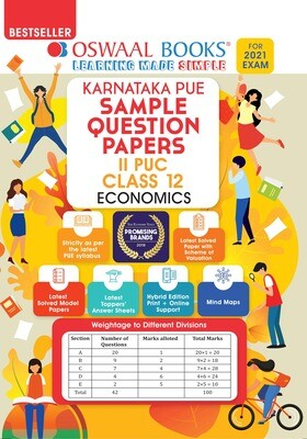 Buy e-book: Oswaal Karnataka PUE Sample Question Papers II PUC Class 12 Economics (For 2021 Exam): 9789390411597