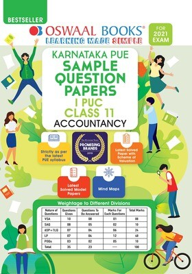 Buy e-book: Oswaal Karnataka PUE Sample Question Papers I PUC Class 11 Accountancy (For 2021 Exam)