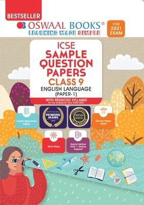 Buy e-book: Oswaal ICSE Sample Question Papers Class 9 English Paper 1 Language (Reduced Syllabus for 2021 Exam)