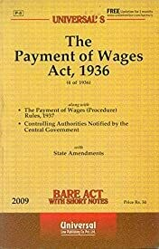 The Payment of Wages Act, 1936 Bare Act with Short Notes