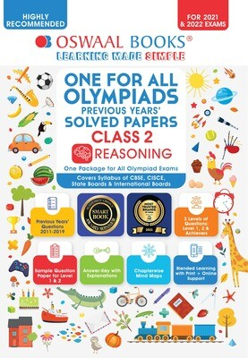 Buy e-book: Oswaal One for All Olympiads Previous Years Solved Papers, Class-2 Reasoning Book (For 2021-22 Exam)