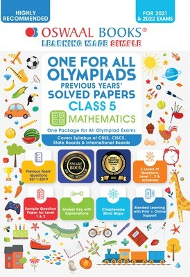Buy e-book: Oswaal One for All Olympiads Previous Years Solved Papers, Class-5 Mathematics Book (For 2022 Exam)