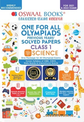 Buy e-book: Oswaal One for All Olympiads Previous Years Solved Papers, Class-1 Science Book (For 2021-22 Exam)