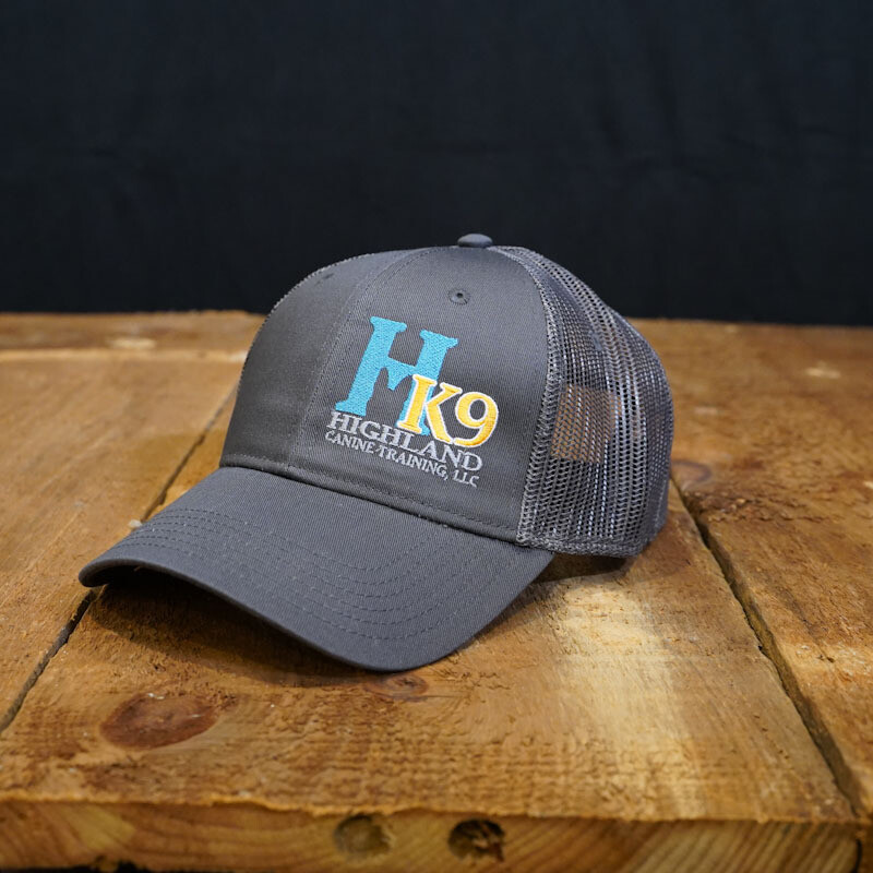 Charcoal Grey Trucker Hat with Teal Logo