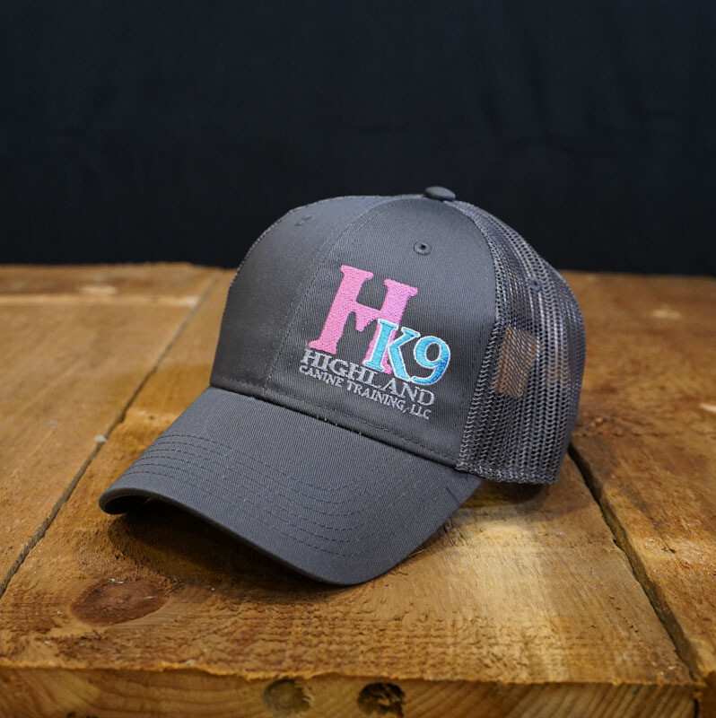 Charcoal Grey Trucker Hat with Pink Logo
