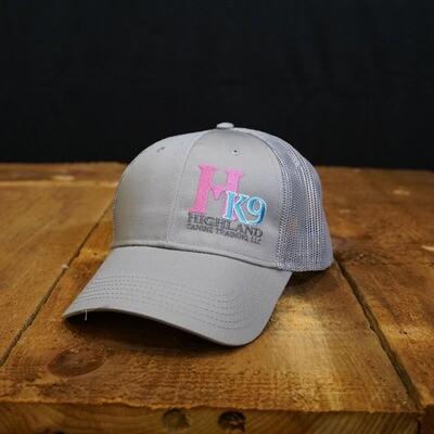 Light Grey Trucker Hat with Pink Logo