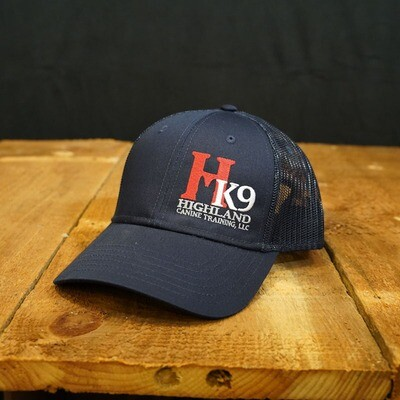 Navy Trucker Hat with Red & White Logo