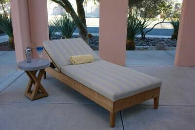 Wood Base Lounger & Concrete Accent Table Set-Samples