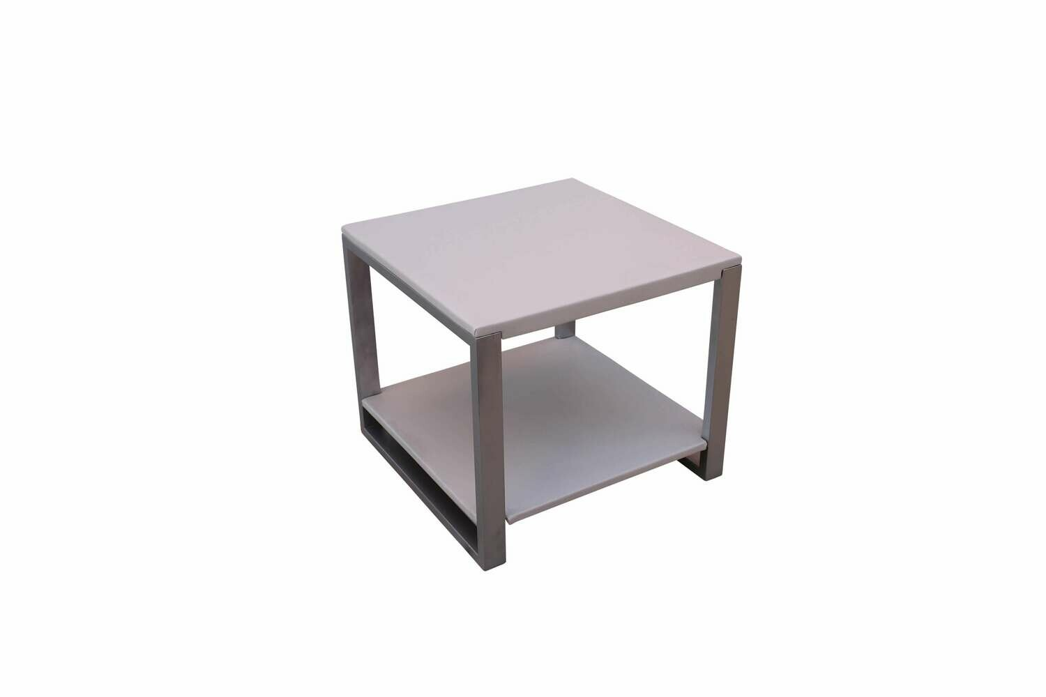 White Steel Accent Table