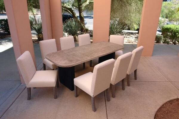 Resort Style 9 Piece Dining Set-1 7' Concrete Table and 8 Dining Chairs