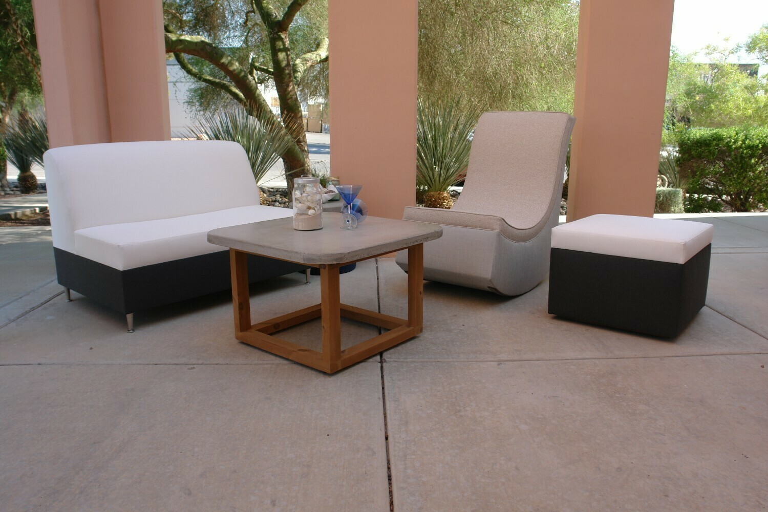 Resort Style 3 Piece Seating Set- 1 Loveseat and 2 Rocking Lounge Chairs