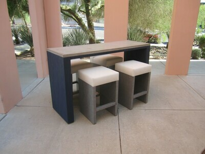 Resort Style 5 Piece Bar Table Set-1 6ft Concrete Bar Height Table & 4 Backless Barstools