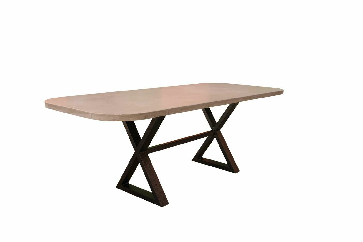 7' Concrete & Metal Dining Table
