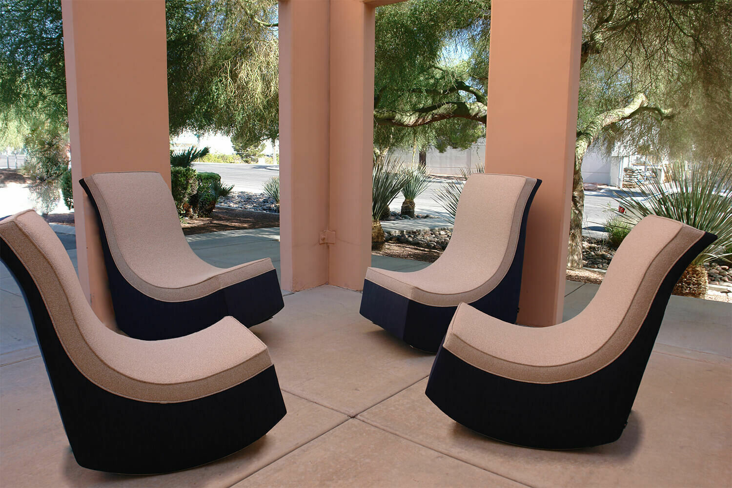 Resort Style 4 piece Chair Set-4 Rocking Lounge Chairs