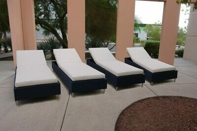 Resort Style 4 Piece Lounging Set-4 Adjustable Daybeds with Tight Seated Cushions