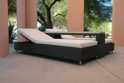 Resort Style 3 Piece Lounging Set-2 Adjustable Daybeds with Tight Seated Cushions and Concrete Lounger Table with Shelf