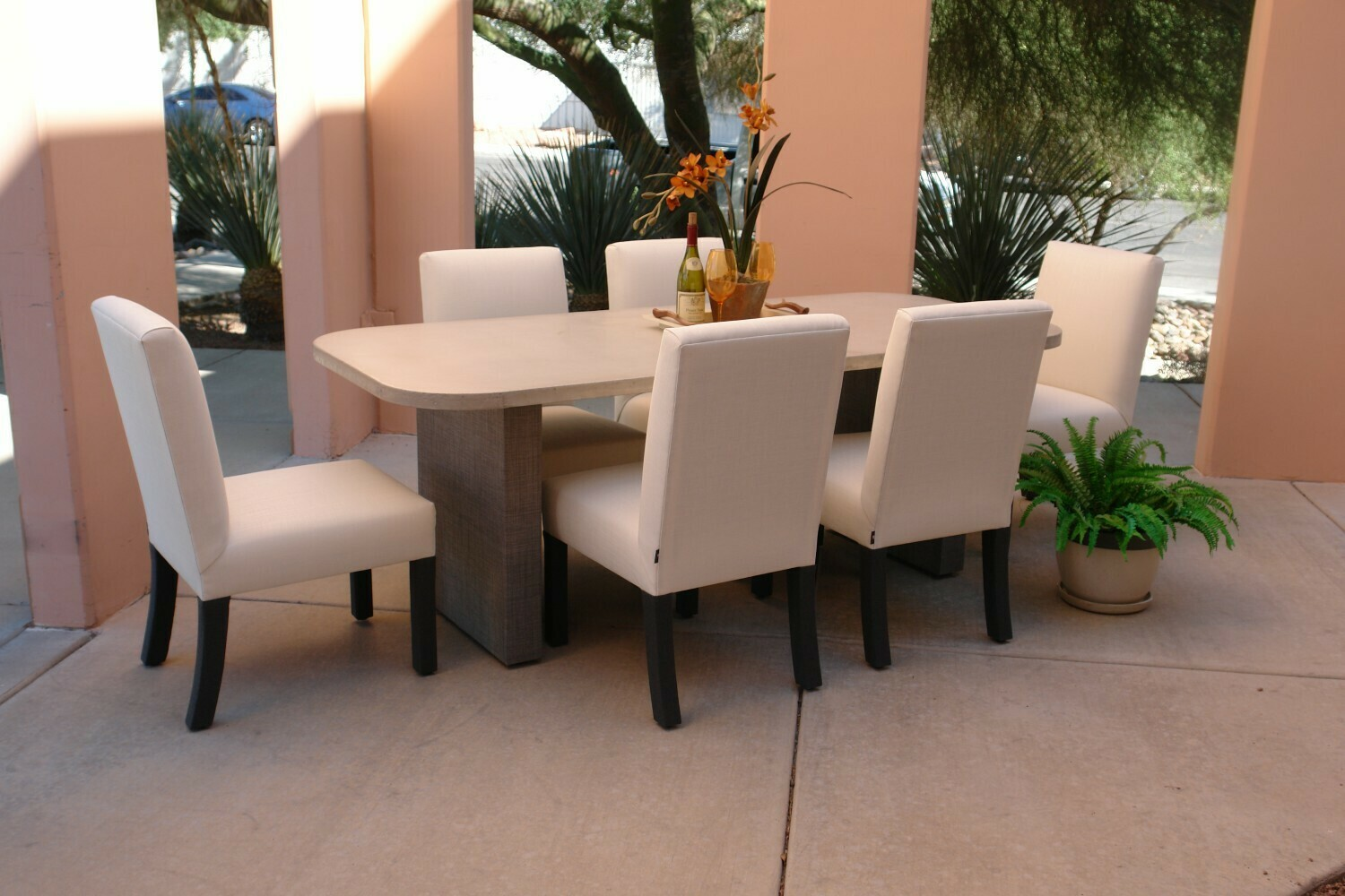 Resort Style 7 Piece Dining Set-1 7' Concrete Table and 6 Dining Chairs