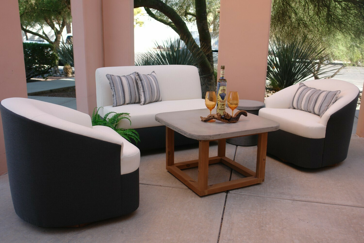 Resort Style 3 Piece Seating Set- 1 Loveseat and 2 Swivel Chairs