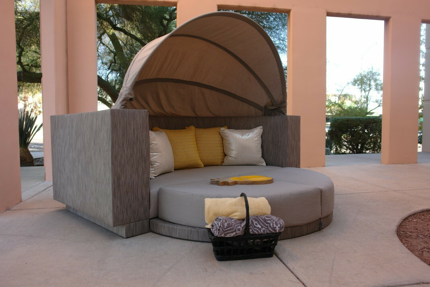 Cool Calm Composed Sofa Daybed With Retractable Canopy-Sample