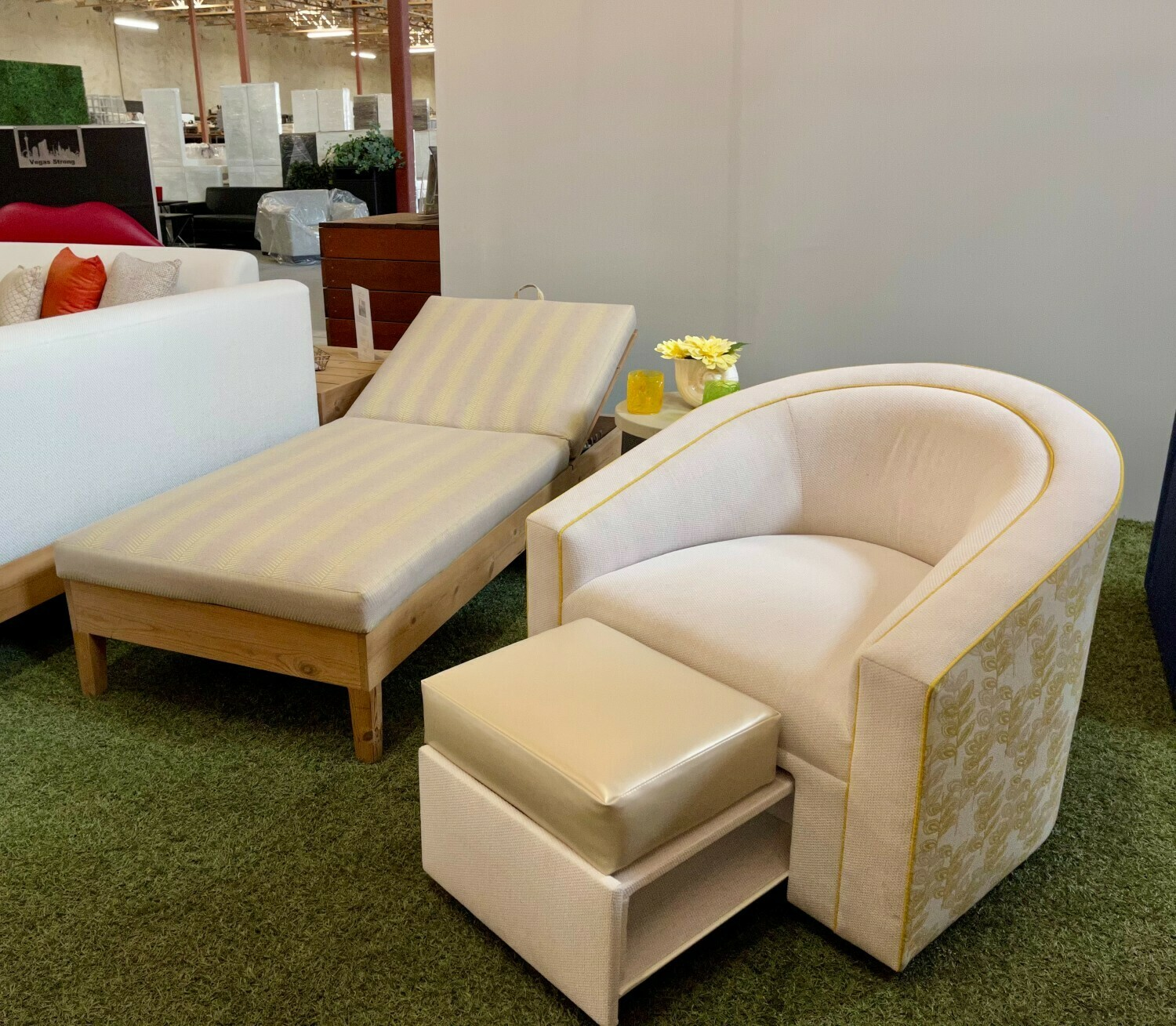 Wood Base Lounger, Swivel Chair w/Footrest & Concrete Accent Table Set-Samples