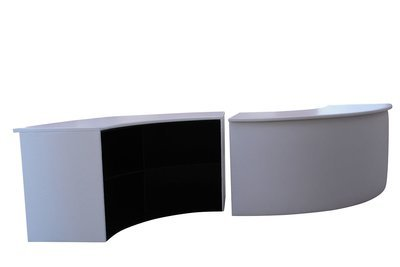 White Curved Bar with Shelving