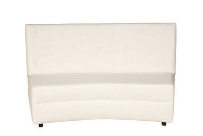 White Button Curved Sofa