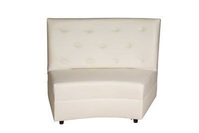 White Button Curved Loveseat