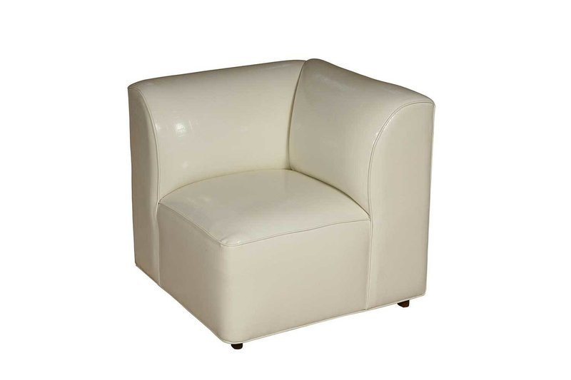 White Patent Corner Chair