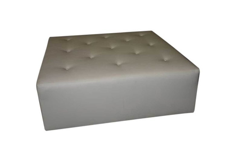 White Button Square Ottoman