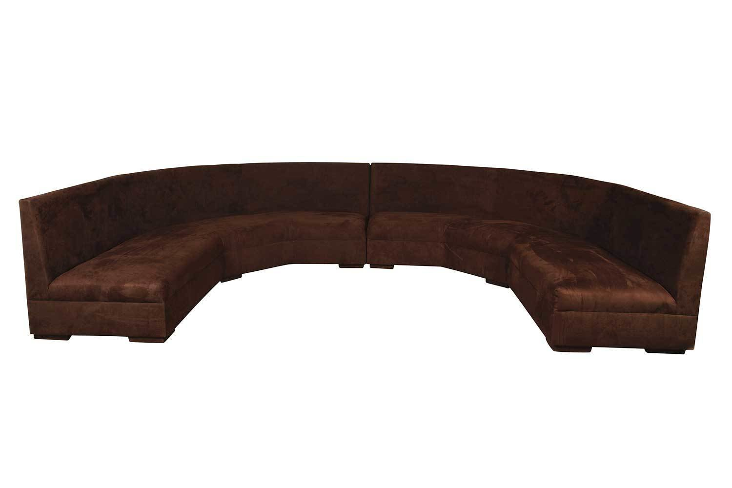 Chocolate Suede Round Sectional-4 pieces