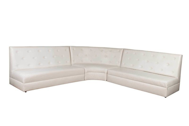 White Button Sectional-3 Piece