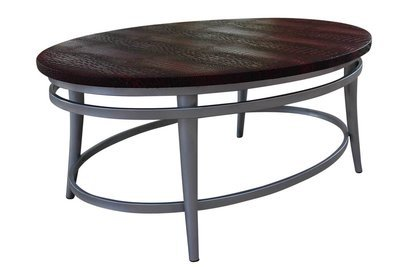 Cherry Steel Oval Coffee Table