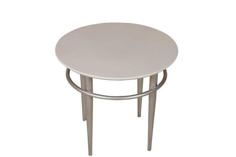 White Steel Round Accent Table