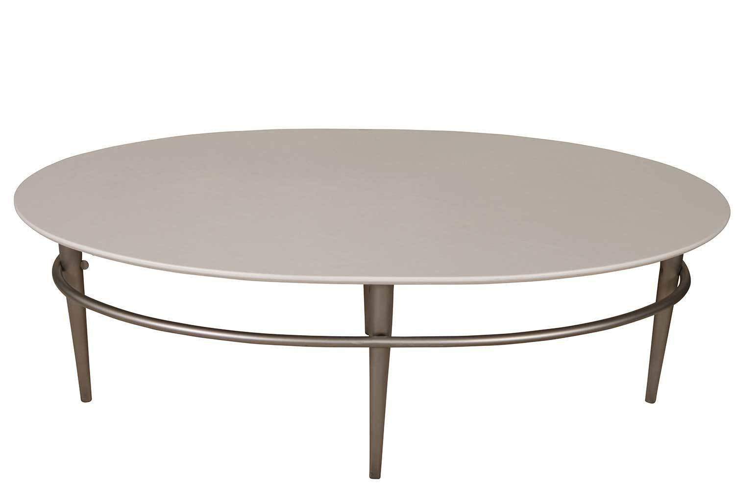 White Steel Oval Coffee Table