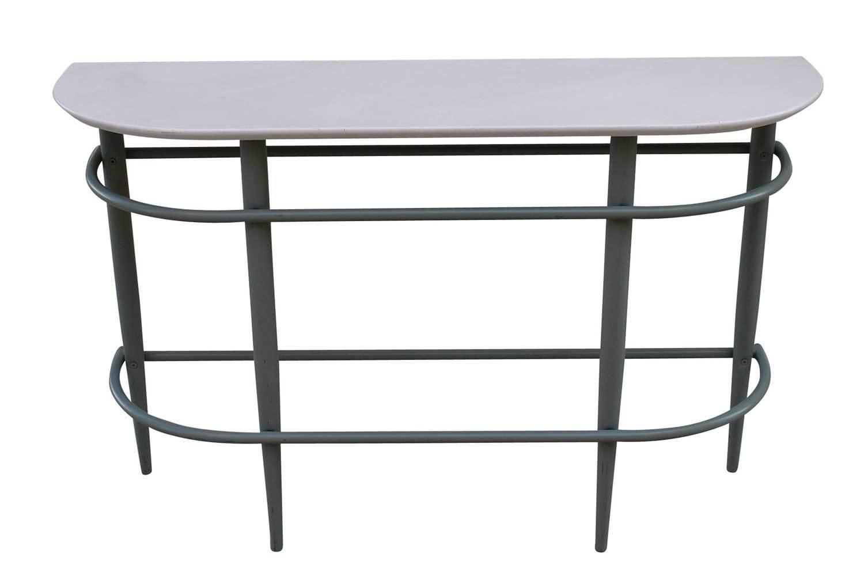 White Steel Sofa Table