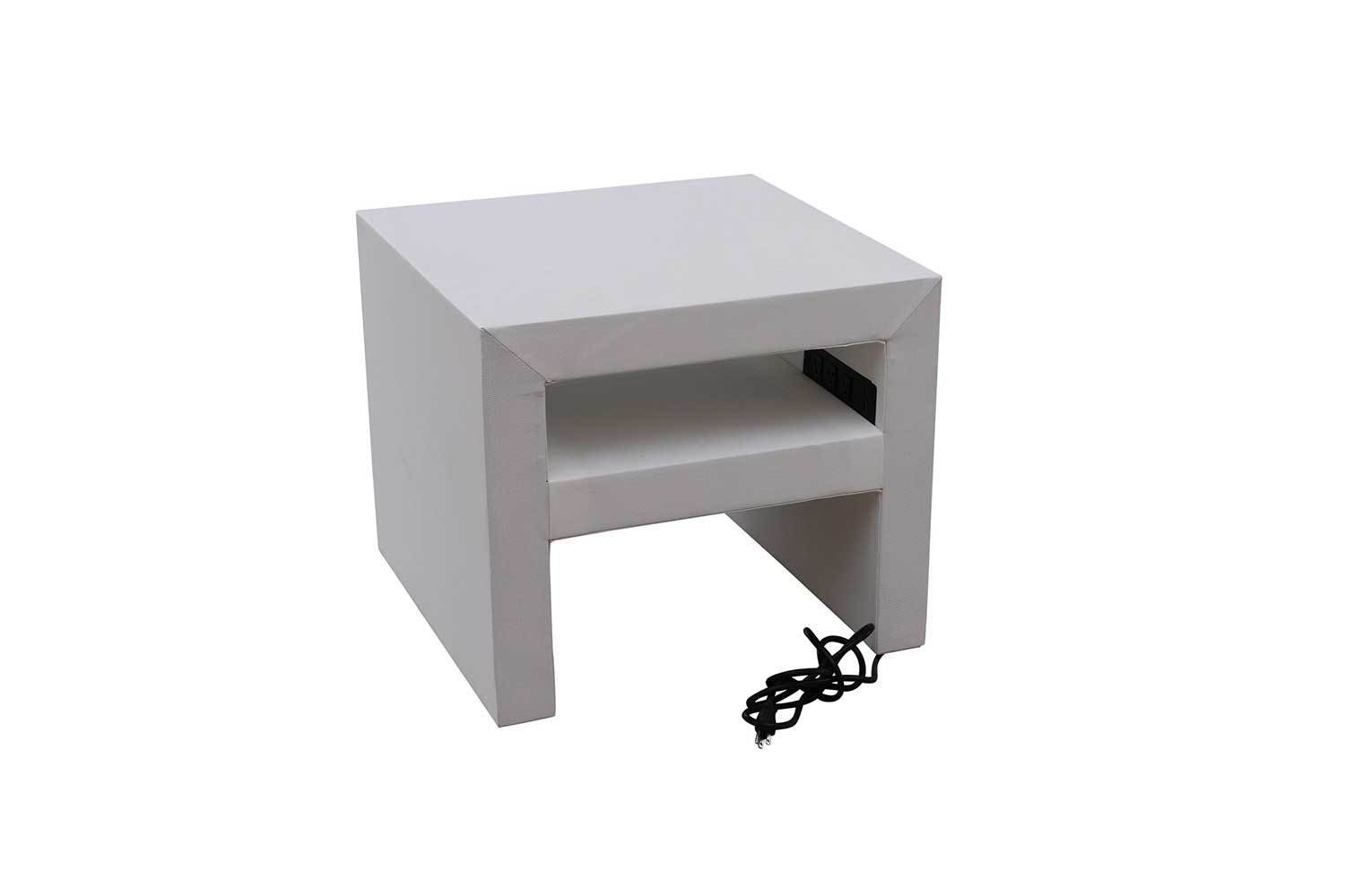 White Charging Accent Table