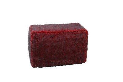 Red Fur Ottoman