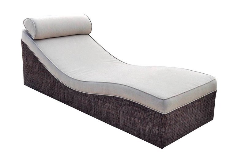 Rattan Cushioned Lounger